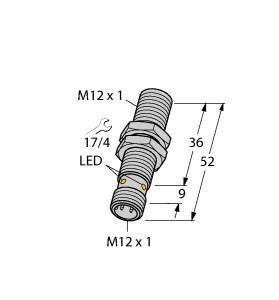 BI6U-M12-AP6X-H1141 TUR 1644810 UPROX3 12mm 6mm SENSING PNP NO SHIELDED M12 QD